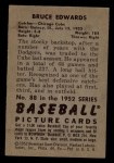 1952 Bowman #88  Bruce Edwards  Back Thumbnail