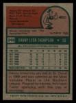 1975 Topps #249  Danny Thompson  Back Thumbnail