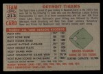 1956 Topps #213   Tigers Team Back Thumbnail