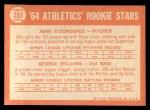 1964 Topps #388   -  George Williams / John O'Donghue Athletics Rookies Back Thumbnail