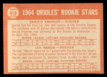 1964 Topps #418   -  Darold Knowles / Les Narum Orioles Rookies Back Thumbnail