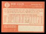 1964 Topps #321  Bob Lillis  Back Thumbnail