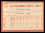 1964 Topps #257   Giants Team Back Thumbnail