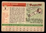 1955 Topps #3  Art Fowler  Back Thumbnail