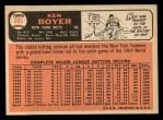 1966 Topps #385  Ken Boyer  Back Thumbnail