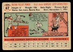 1956 Topps #67  Vic Power  Back Thumbnail