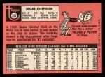 1969 Topps #222  Duane Josephson  Back Thumbnail
