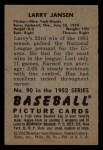 1952 Bowman #90  Larry Jansen  Back Thumbnail