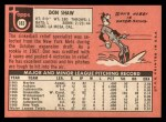 1969 Topps #183 COR Don Shaw  Back Thumbnail