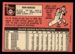 1969 Topps #566  Ron Hansen  Back Thumbnail