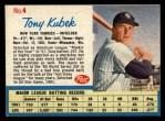1962 Post #4  Tony Kubek   Front Thumbnail