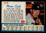 1962 Post Cereal #14 RGT Norm Cash  Front Thumbnail