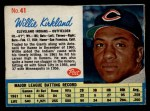 1962 Post Cereal #41  Willie Kirkland   Front Thumbnail