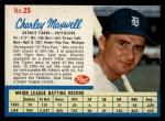 1962 Post Cereal #25  Charley Maxwell   Front Thumbnail