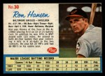 1962 Post Cereal #30 A Ron Hansen   Front Thumbnail