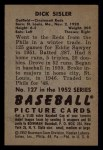 1952 Bowman #127  Dick Sisler  Back Thumbnail
