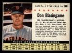1961 Post Cereal #148 BOX Don Blasingame   Front Thumbnail