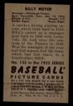 1952 Bowman #155  Billy Meyer  Back Thumbnail