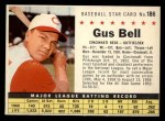 1961 Post #186 COM Gus Bell   Front Thumbnail