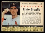 1961 Post Cereal #179 COM Ernie Broglio   Front Thumbnail