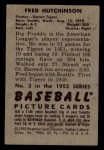 1952 Bowman #3  Fred Hutchinson  Back Thumbnail