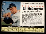 1961 Post Cereal #10 BOX Gil McDougald   Front Thumbnail