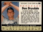 1961 Post Cereal #160 BOX Don Drysdale   Front Thumbnail