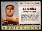 1961 Post Cereal #188 BOX Ed Bailey   Front Thumbnail