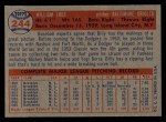 1957 Topps #244  Billy Loes  Back Thumbnail