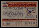 1957 Topps #308  Dick Hall  Back Thumbnail