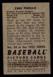1952 Bowman #24  Carl Furillo  Back Thumbnail