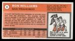 1970 Topps #8  Ron Williams   Back Thumbnail