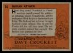 1956 Topps Davy Crockett #14 ORG  Indian Attack  Back Thumbnail