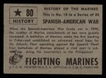 1953 Topps Fighting Marines #80   Spanish American War Back Thumbnail