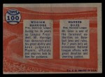 1957 Topps #100  Warren Giles / William Harridge  Back Thumbnail