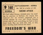 1950 Topps Freedoms War #160   Suicide Attack  Back Thumbnail