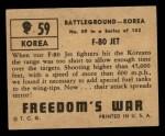 1950 Topps Freedoms War #59   F-80 Jet   Back Thumbnail
