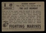 1953 Topps Fighting Marines #49   The Last Moment Back Thumbnail