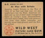 1949 Bowman Wild West #8 A  At War with Britain Back Thumbnail