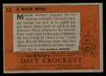 1956 Topps Davy Crockett #53 ORG  Near Miss  Back Thumbnail