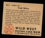1949 Bowman Wild West #1 E  Trail Drive Back Thumbnail