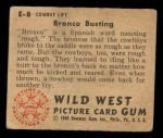 1949 Bowman Wild West #8 E  Bronco Busting Back Thumbnail