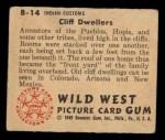 1949 Bowman Wild West #14 B  Cliff Dwellers Back Thumbnail