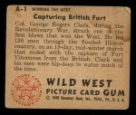 1949 Bowman Wild West #1 A  Capturing British Fort Back Thumbnail