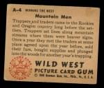 1949 Bowman Wild West #4 A  Mountain Men Back Thumbnail