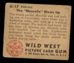 1949 Bowman Wild West #17 G  The Mosselle Blows Up Back Thumbnail