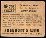 1950 Topps Freedoms War #203   Arctic Soldier  Back Thumbnail
