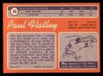 1970 Topps #66  Paul Flatley  Back Thumbnail