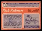 1970 Topps #118  Rick Redman  Back Thumbnail