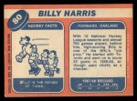 1968 Topps #80  Billy Harris  Back Thumbnail